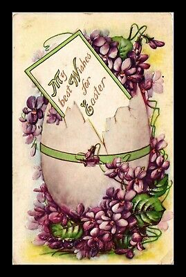 Dr Jim Stamps Us Wishes For Easter Embossed Egg Flowers Topical Postcard