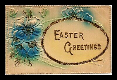 Dr Jim Stamps Us Flowers Egg Easter Greetings Embossed Topical Postcard