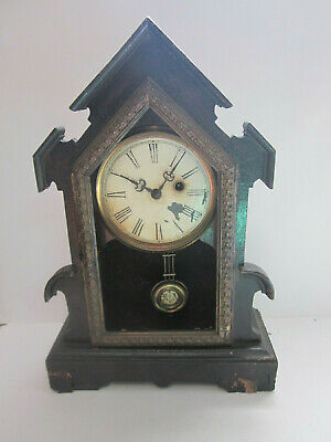 Antique Cathedral Wind Up Mantel Clock Ra On Pendulum For Parts Or Repair