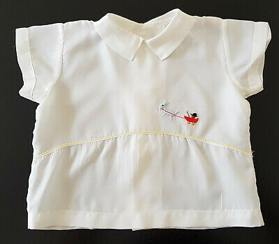 VINTAGE 1960's BABY BOY SHORT SLEEVE 'SATIN LIKE FABRIC' TOP, EMBROIDERY DETAIL