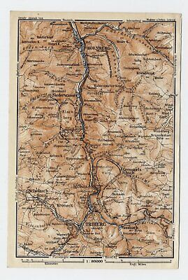 1911 Antique Map Vicinity Of Triberg Hornbach Schwarzwald Black Forest / Germany
