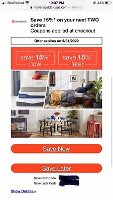 15% OFF now 15% OFF later -- Overstock coupon expires 3/31/2020