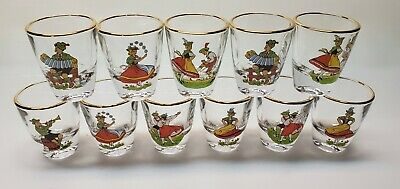 Vintage German Character Gold Rimmed Shot Glasses Set (11) Heavy Glass Festive
