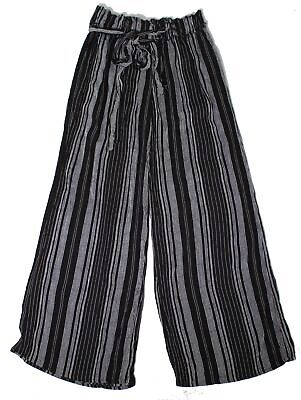 Shinestar Womens Pants Black Size Large L Striped Wide Leg Stretch $38 318