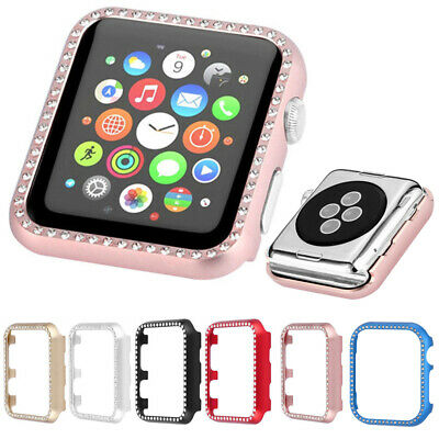 Aluminum Metal Case Diamonds Cover Bumper Shell for Apple Watch Series 5 4 3 2 1