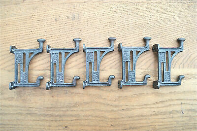 A set of 5 Arts & Crafts Mackintosh Glasgow coathooks cast iron coat hook hanger