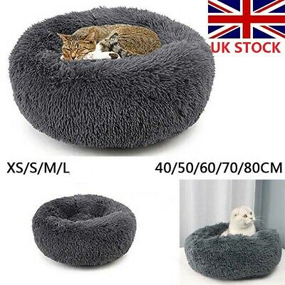 Comfy Calming Dog/Cat Bed Pet Beds Round Super Soft Plush Marshmallow Puppy UK