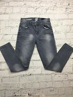 NEXT Grey Washed Denim Ripped Knee Elasticated Jeans Age 13 Years