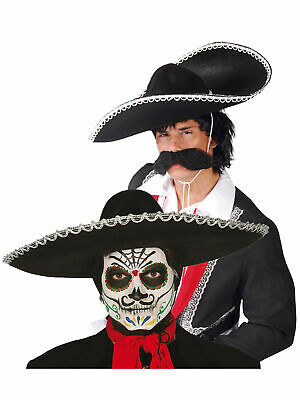 Day Of The Dead  Black Sombrero Mexican Hat Mens Fancy Dress Costume Halloween