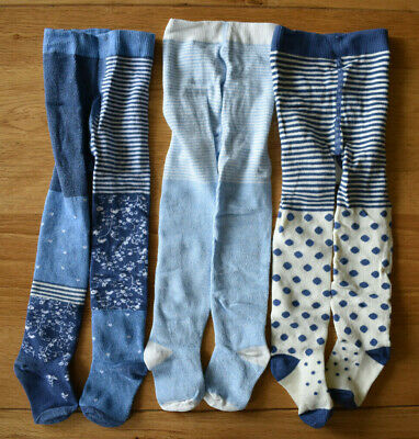 BNWT NEXT 6-9-12 months baby girl 3 pairs of tights *blue/floral/spotted/striped