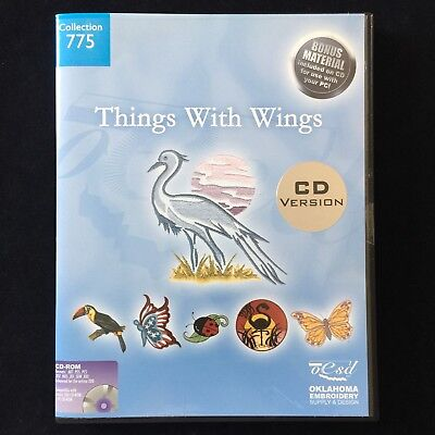 Embroidery Designs Multi-format CD #775 Things With Wings Brother Viking Artista