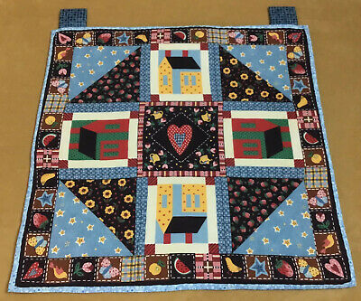 Printed Country Quilt Wall Hanging, Houses, Hearts, Berries, Flowers, Multi