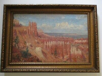 Antique American Impressionism Painting Landscape Impressionist Canyon Mountains