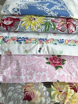 5 Vintage Floral Tablecloth Lot for Restoration No Holes