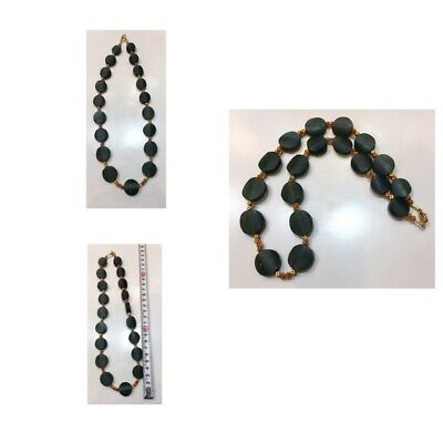 Afghanistan natural jade stone necklace very beautiful gold plated old