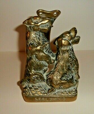 Vintage Solid Brass Large Door Knocker of Two Sealyham Terrier Dogs
