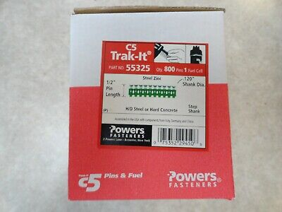 """Powers Trak-It C5 55325 1/2"""" Pins .120"""" Shank - Qty 800 +Expired Fuel Cell - NEW"""