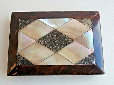 Antique Faux Tortoiseshell, Mother of Pearl & Silver Card Case