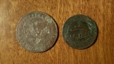 TUNISIA AND MOROCCO - 10 centimes and 5 mazunas coins, 1892/1903, very worn