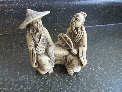 """Vintage Chinese Figural Figurine Statue  Carving  4"""" x 4"""" x 2"""""""