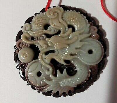 Carved Stone Chinese Dragon Pendant