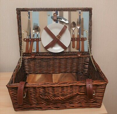New Vintage Style Wicker Picnic Basket Hamper - Perfect for Two People
