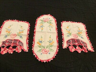 3 Vintage Embroidered Pink Pansies Doilies