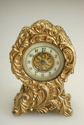 "Antique Waterbury Gilt Metal Shelf Clock 4"" Victorian Rococo Case"