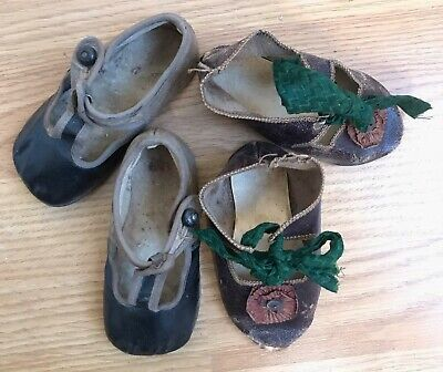 Two Pairs Antique Leather Victorian Baby Shoes.