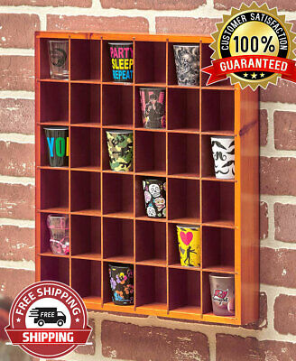 Natural 36 Shot Glass Display Case Collectibles Wall Mounted Wooden Rack Shelf