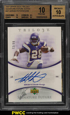 2007 Upper Deck Trilogy Future Adrian Peterson ROOKIE RC AUTO /99 BGS 10 (PWCC)
