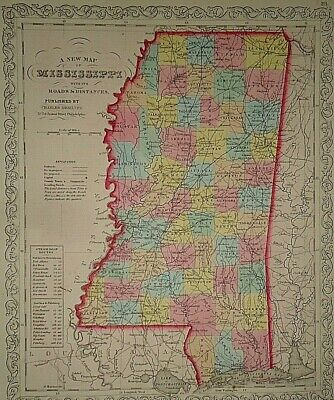 Vintage Dated 1859 DESILVER MAP ~ MISSISSIPPI Old Antique & Authentic Atlas Map