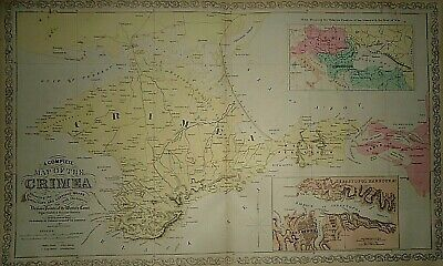 Vintage 1856 DESILVER MAP of the CRIMEA MILITARY ROADS Old Antique & Authentic