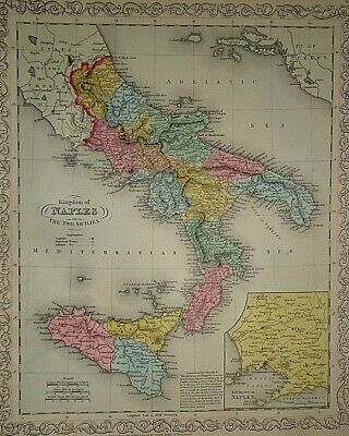 Vintage Dated 1859 DESILVER MAP KINGDOM of NAPLES / ITALY Old Antique Authentic