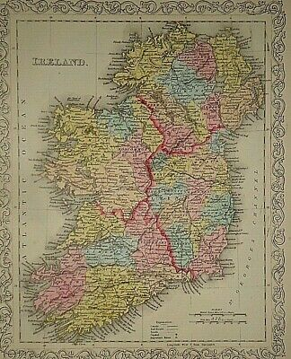 Vintage Dated 1859 DESILVER MAP ~ IRELAND Old Antique & Authentic Atlas Map