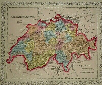 Vintage Dated 1859 DESILVER MAP ~ SWITZERLAND Old Antique & Authentic Atlas Map