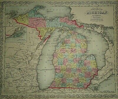 Vintage Dated 1859 DESILVER MAP ~ MICHIGAN Old Antique & Authentic Atlas Map