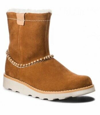 Clarks Girls Crown Piper Tan Suede Warm Air Spring Boots Size 12.5 G EU 31