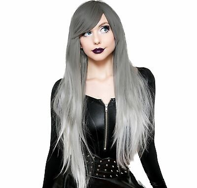 Silver White Ombre Cosplay Wig, Halloween Costume Accessories, One Size