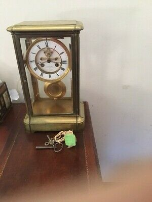 Antique French Mantel Clock Le Roy and Fils  Brass- with keys