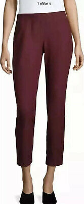 Xs Nwt Eileen Fisher Deep Claret Washable Stretch Crepe Slim Ankle Pants