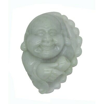 Jade Pendant Light Green Happy Buddha, Laughing Buddha Figure n466