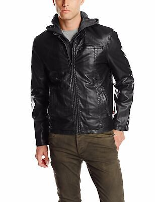 Levi's Mens Jacket Black Size XL Faux Leather Hooded Motorcycle $99- 329