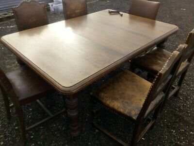 Antique Victorian Mahogany Dining Table, With Extendable Key & 6 Chairs
