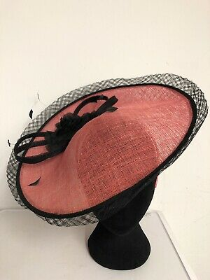 Pink Black Trim Fascinator Weddings Christenings Ladies Day Ascot