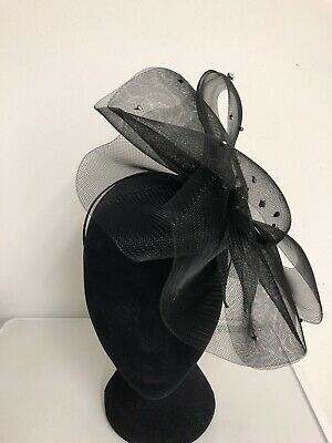 Black Diamanté Detail Fascinator Headband Weddings Christening Ladies Day Ascot