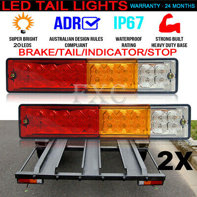 2x TRAILER LIGHT TRUCK REFLECTOR STOP INDICATOR TAIL CAMPER 20 LED 10-30V LIGHTS
