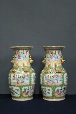 Pair of Vases Porcelain Canton/Chinese/Nineteenth Century/ Chinese Antique