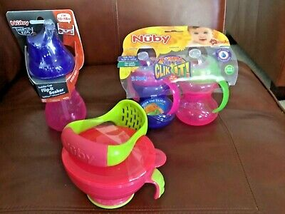 JOBLOT NUBY - 3 drinking beakers and food bowl and masher-    NEW