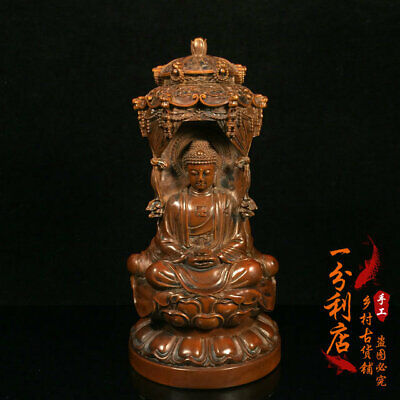 Exquisite Chinese antiques handmade  Boxwood  GUANYIN statue cv53